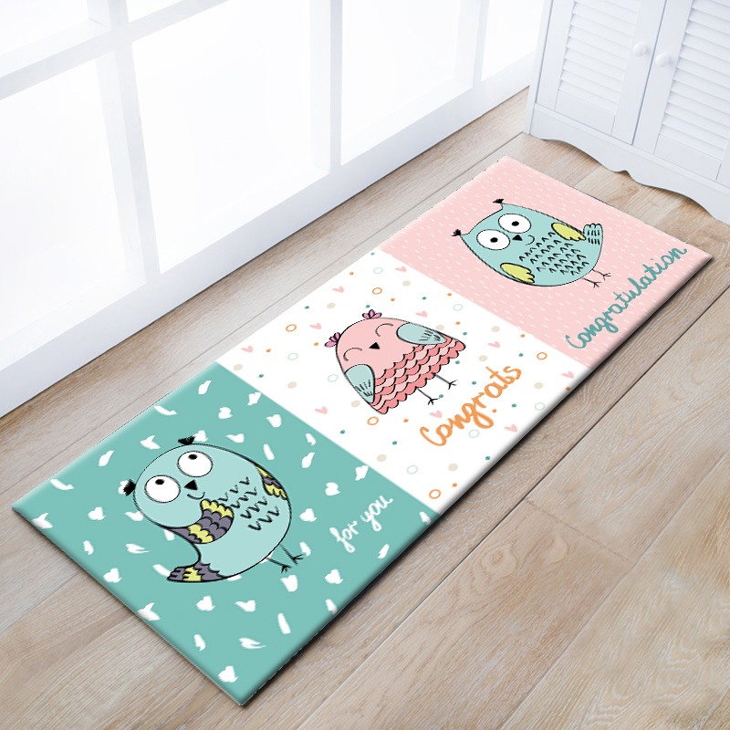 Multi-function cartoon owl ground mat for kitchen, door mat ,cute kids carpet ,decoratio ...