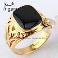 A1-r074 italina rigant moda tallada 18kgp simulado onyx negro esmalte anillo de la venda de 18mm ancho joyería tamaño 7-14
