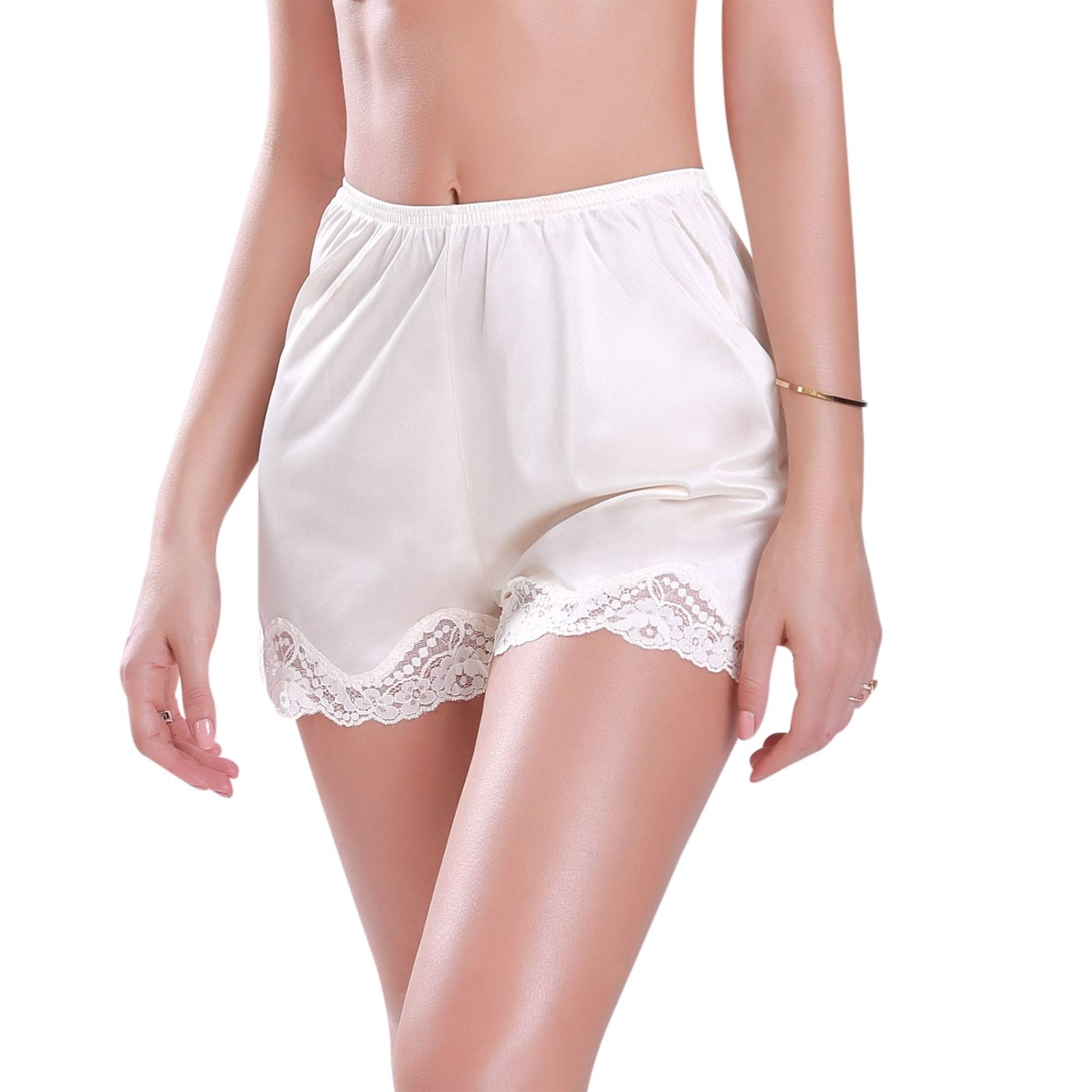 2019 New Women Lace Slips Ice Sil Short Pants Under Pettipants Loose Satin Bloomers Shorts Lady Home Sleepwear