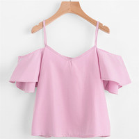 New Style Women Summer Pinstripe Summer Casual Blouse Cold Shoulder Top Sexy Fashion Hot Sales Blouse Wolovey#15
