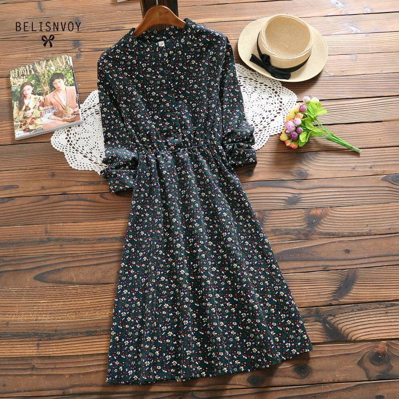 Женское вельветовое платье Mori Girl, элегантные винтажные платья-миди с цветочным принтом на осень и зиму