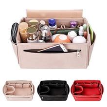 HHYUKIMI Multifunction Felt Cosmetic Bag Handbag Organizer Insert Travel Inner Purse Makeup Organizers Fit Various Brand Bags