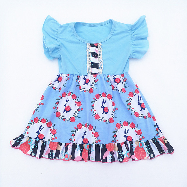 c487aaa8548f 2019 Wholesale children boutique dress Easter printing dresses kids clothing  dress rabbit floral pattern Cotton
