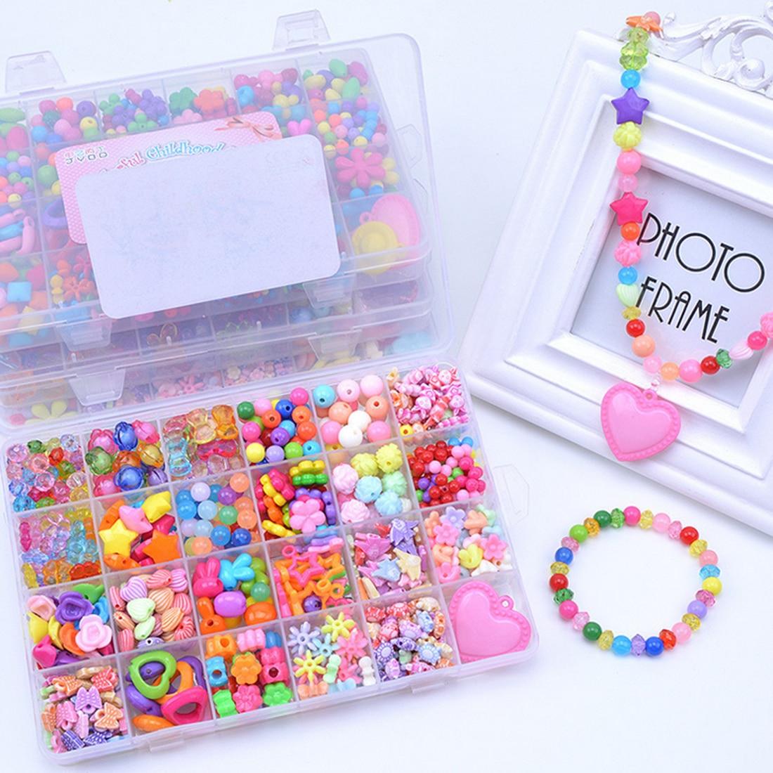 24 Grids Kids Acrylic Colorful DIY Beads Set Girls Necklace Bracelet Making Craft Kit Box Kid Gifts ...