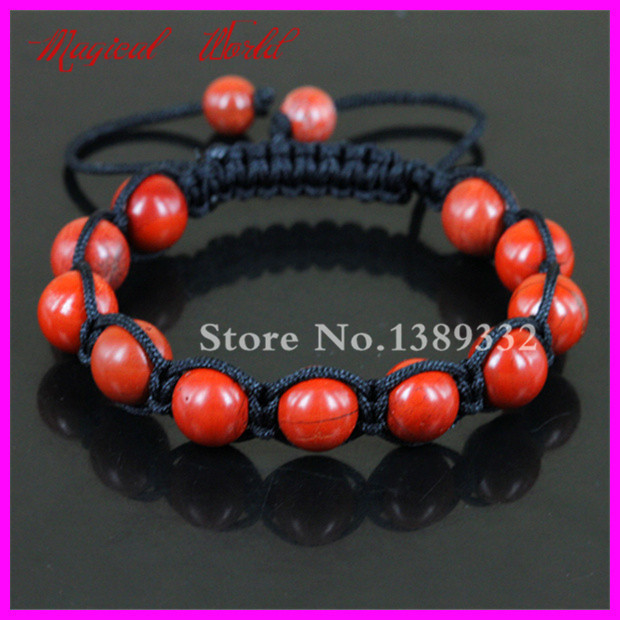 High Quality Matte Red Nature Beads Macrame Bracelet Handmade Braiding Adjustable Bracelet Gems Stone Beads Bracelet Bangle