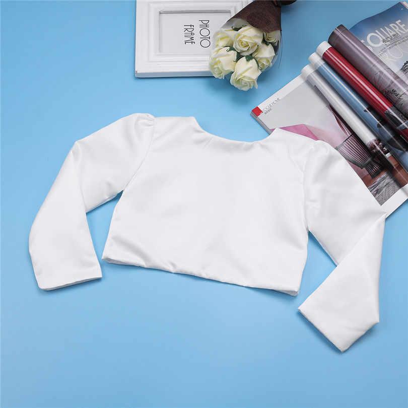 White Baby Girls Lace Bridal Baby Bolero Wedding Jackets Baby Girl Clothes Long Sleeves Short Cropped Wrap Shrug Dress Outerwear