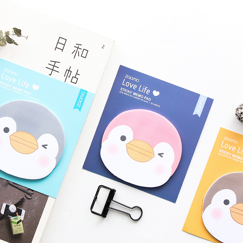 24 Pcs/Lot Cartoon Penguin Memo Pad Mini Color Post Stick Marker It Note Stationery Office Accessories School Supplies FM373