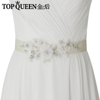 TOPQUEEN S358 Wedding Sashes Diy Wedding Dress Belts And Sashes Pretty Crystal Beads Diamonds Embroidered Belt
