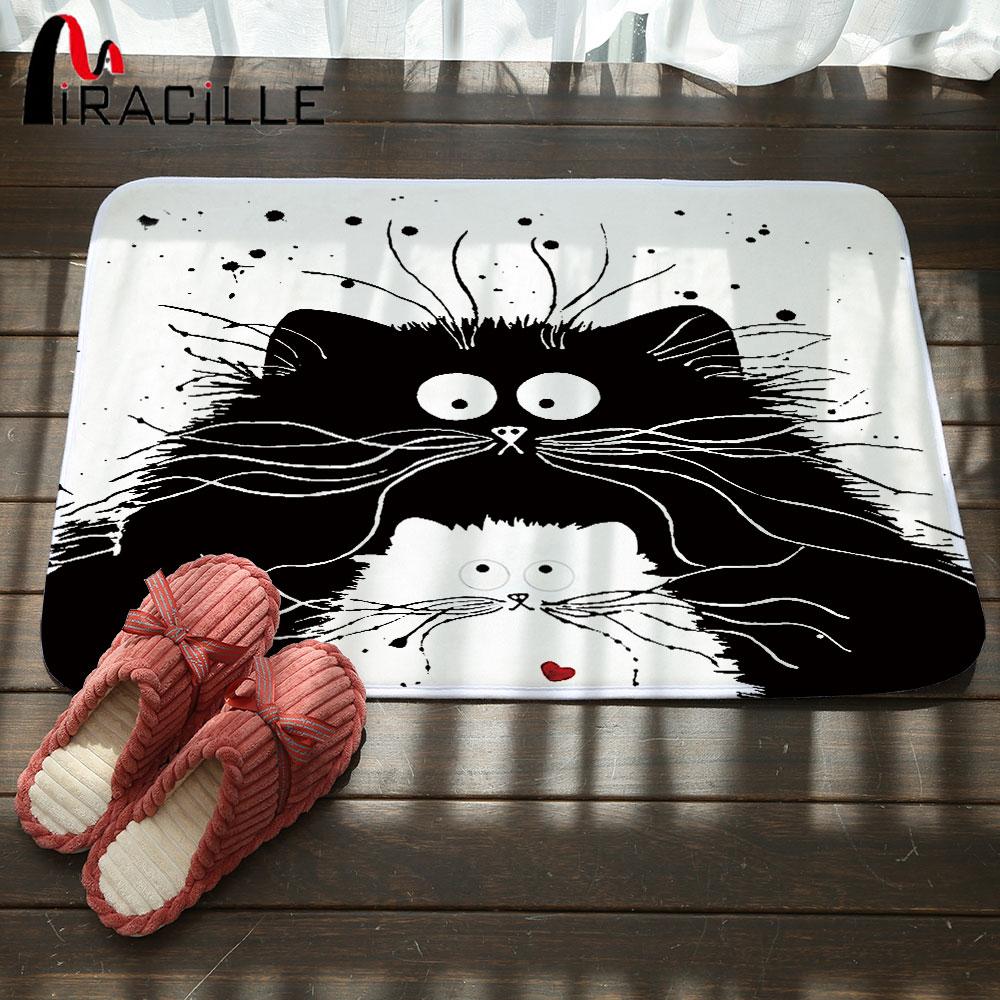 Chat Pisse Tapis Salle De Bain ~ miracille moderne de bande dessin e noir blanc chat imprim porte