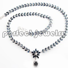 Натуральное сапфировое ожерелье,, натуральный синий сапфир, серебро 925 пробы, 0.13ct* 174 шт, 1.6ct* 1 шт драгоценные камни