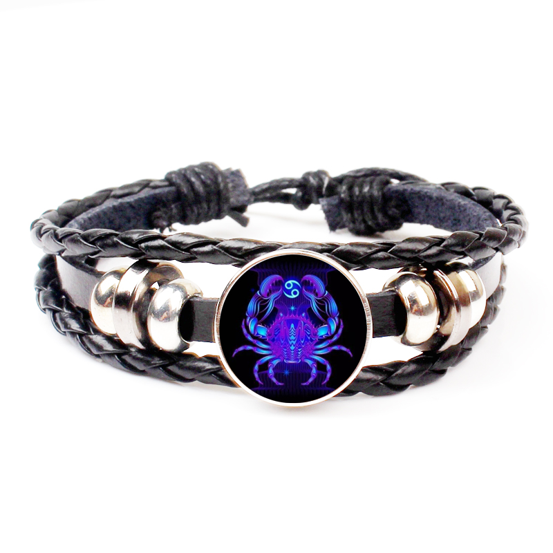 1 piece 12 constellation Virgo Leo Aries Gemini Art Glass Metal Leather Bracelet Fashion Lady Lucky Bracelet Jewelry in Charm Bracelets from Jewelry Accessories