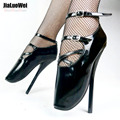 "Plus size New 7"" Sexy Show Girl High Heel Ballet Spike Stiletto Lace Strappy Shoes Black"