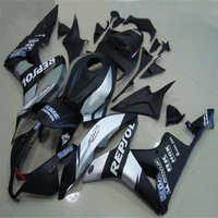 km 100% fit injection mold for fairings CBR600RR 2007 2008 black silver fairing kit 07 08 CBR 600RR