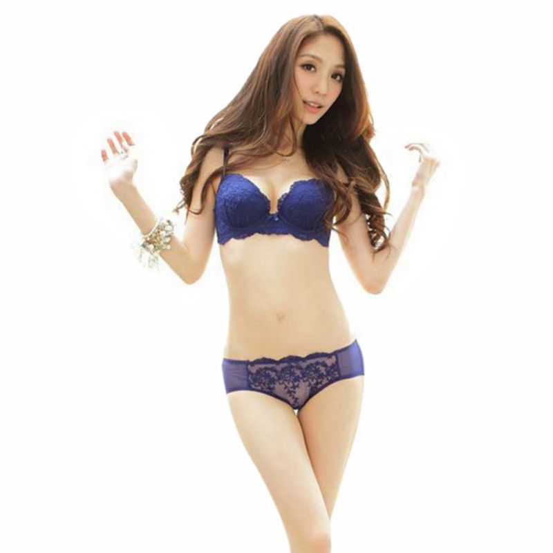 Women Lace Bra Sets Three breasted Bra Underwear Outfits Cup A B C in Bra Brief Sets from Underwear Sleepwears