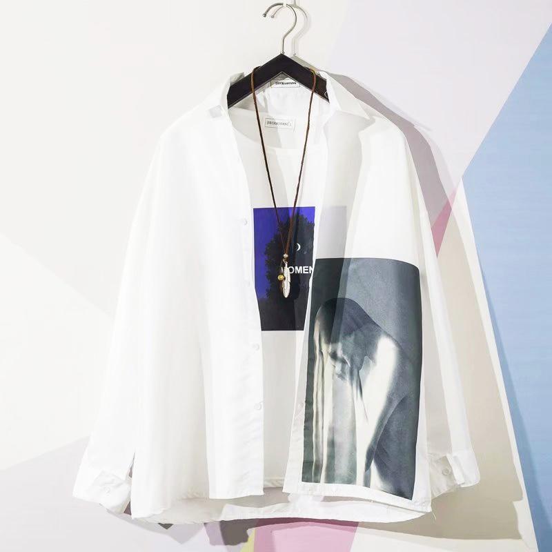 Vintage Picture Print Korea Style Men White Shirt Button Turndown Collar Long Sleeve Shirts 2019 Summer Man Loose Top Streetwear