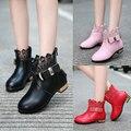 1 par de moda de cuero genuino botas de invierno botas zapatos de la princesa, además de terciopelo botas