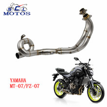 Sclmotos -MT07 Stainless Steel Front Mid Pipe Motorbike Motorcycle Exhaust Muffler Middle Link Pipe for YAMAHA MT07 MT-07