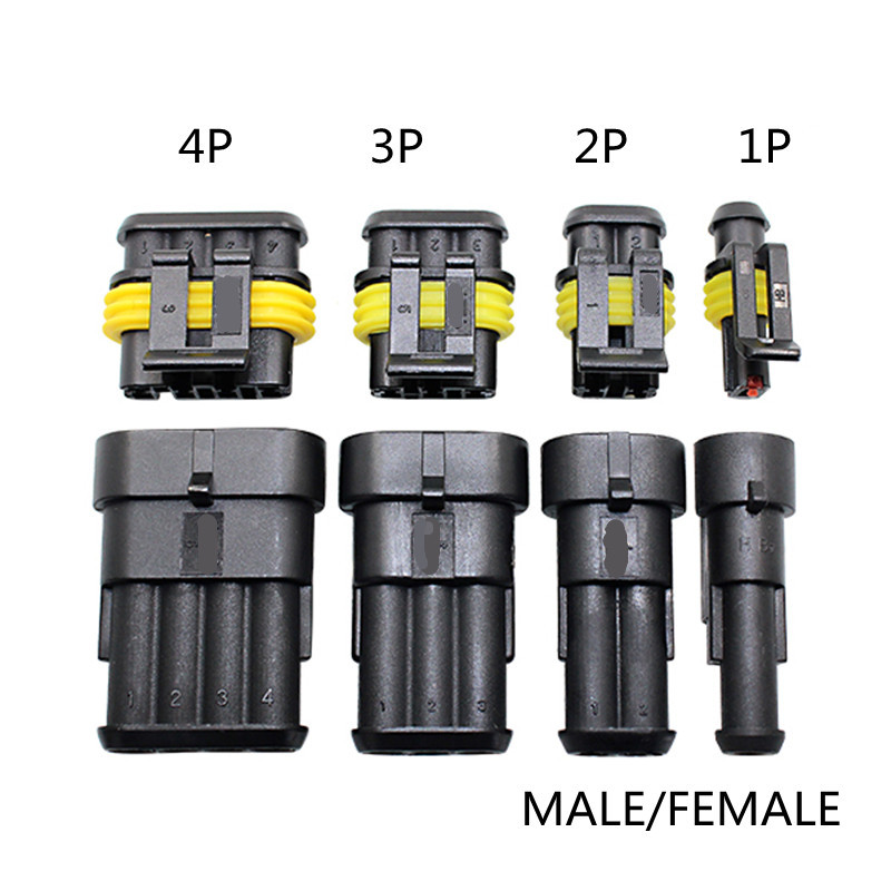 1sets Kit 2 Pin 1/2/3/4/ Pins Way Super Seal Sealing Waterproof Electrical Wire Cable Connector Plug For Car Auto