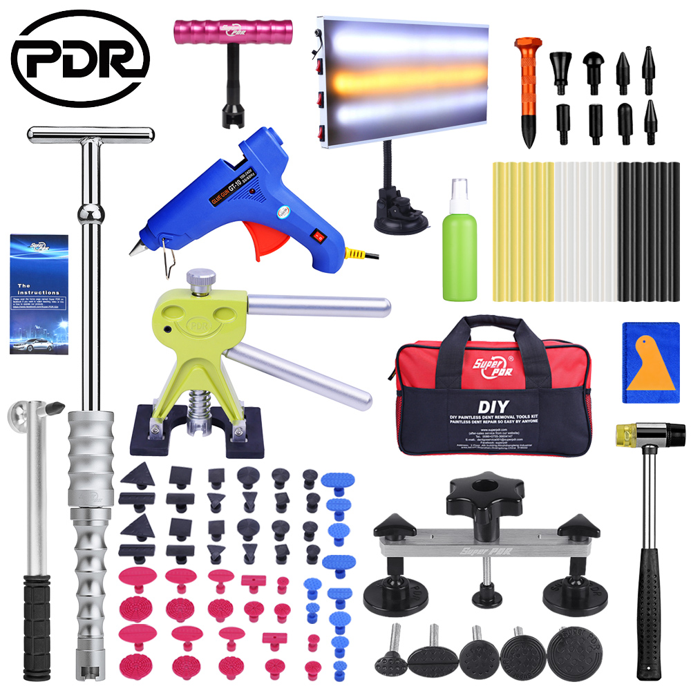 PDR Tools Paintless Dent Repair Tool Kit Hot Melt Glue Gun Auto Dent Puller Suction Cup Dent Pulling Bridge Glue Tabs Set|Hand Tool Sets| |  - title=