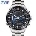 TVG Marca Top de Luxo Relógio Cronógrafo de Quartzo Homens Esportes Relógios Homens Cinta de Aço de Prata 100 m de Mergulho À Prova D' Água Relógio Militar homens