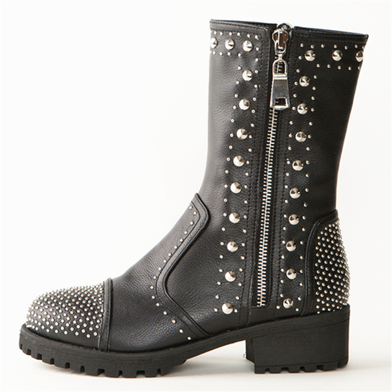Véritable Piste Shoescrystal Black In Chunky Strass Plein Pour Buonoscarpe Conception Courtes Cloutés Femmes plush Bottines Rivets Talon Cuir rxoEBdCeQW