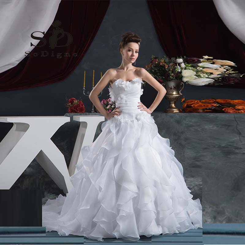 Us 127 75 27 Off Wedding Dress 2018 Sodigne New Fashion Ruffles A Line Strapless Flower Pleats Bridal Gown Vintage Inspired Bridal Gown In Wedding