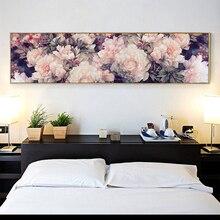 Costura, DIY gran juego de punto de cruz para kit de bordado completo, Blanco púrpura Rosa peonia flor patrón impreso decoración de pared para bodas