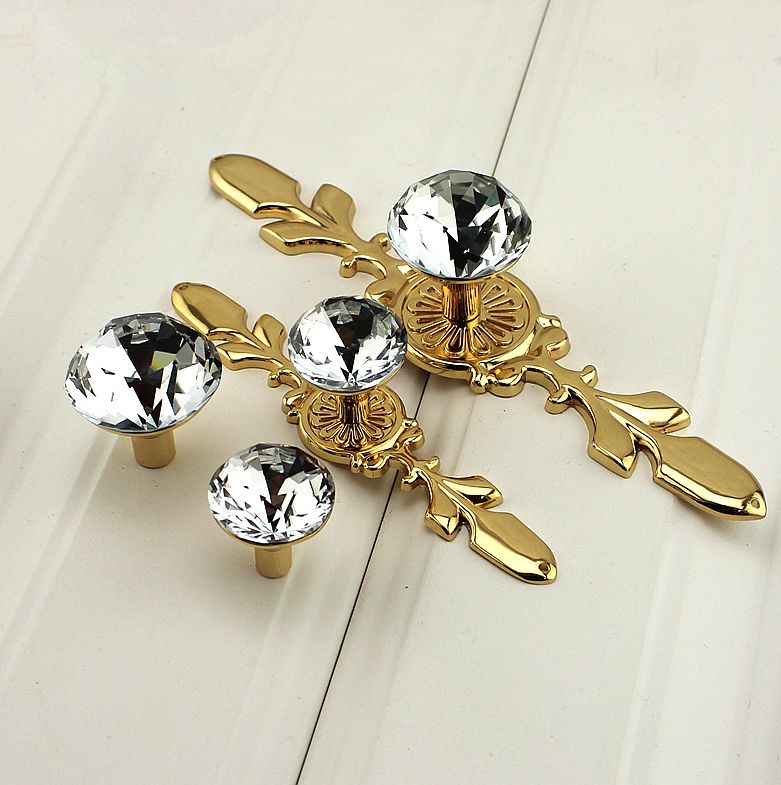 Glass Drawer Knob Crystal Pulls Handle Dresser Knob Pull gold / Silver Chrome Clear decorative Shiny Cabinet knob crystal knob glass knobs dresser drawer pulls handles square cabinet pull handle decorative door hardware silver clear bling