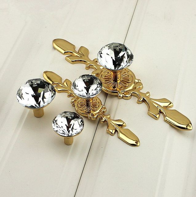 Gl Drawer Crystal Pulls Handle Dresser Pull Gold Silver Chrome Clear Decorative Shiny