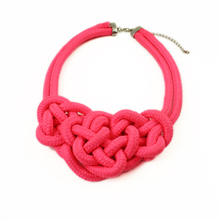Accessories neon color short design necklace handmade cotton rope heart chain candy knitted