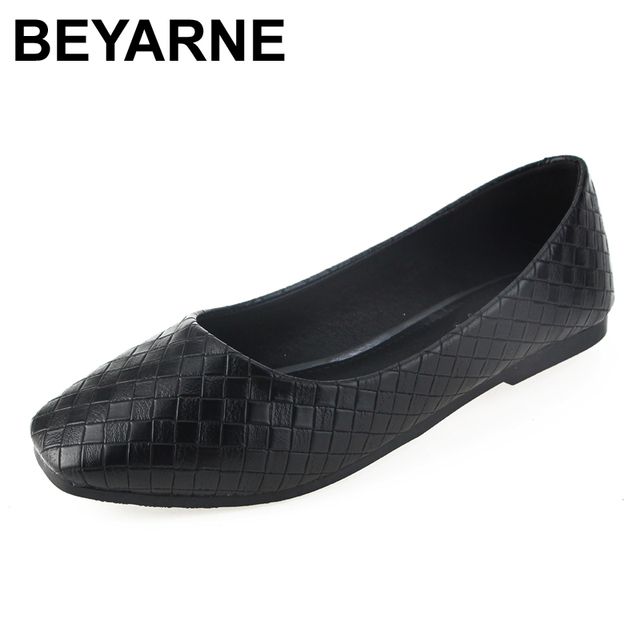 e326aad2b98 BEYARNE Spring Autumn Women Fashion Anti-slip Ballet Flats Soft Shoes Women  Square Head Flat Heal Shoes Casual Soft Wear 34-43