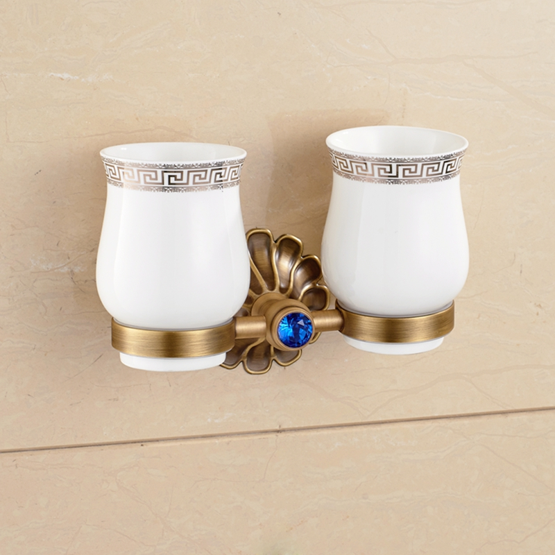Antique Brass Bathroom Tooth Brush Holder Dual Ceramic Cups Blue Crystal Holder free postage oil rubbed bronze tooth brush holder double ceramic cups holder
