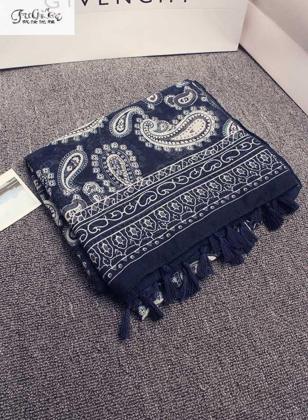 Bufanda de viento nacional Retro, chal de sol salvaje, bufanda azul con flecos hecha a mano, mantillas de bufanda con estampado de anacardo