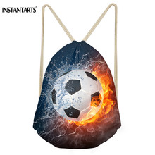 INSTANTARTS Soccerly Drawstring Bag Women's Men's Fashion Drawstring Backpack School Boy Schoolbag 3D Basket  Ball Print Satchel