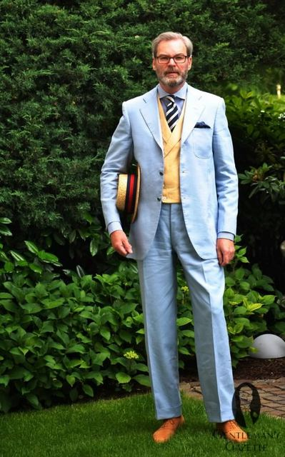 2017 Latest Coat Pant Designs Light Blue Yellow Wedding