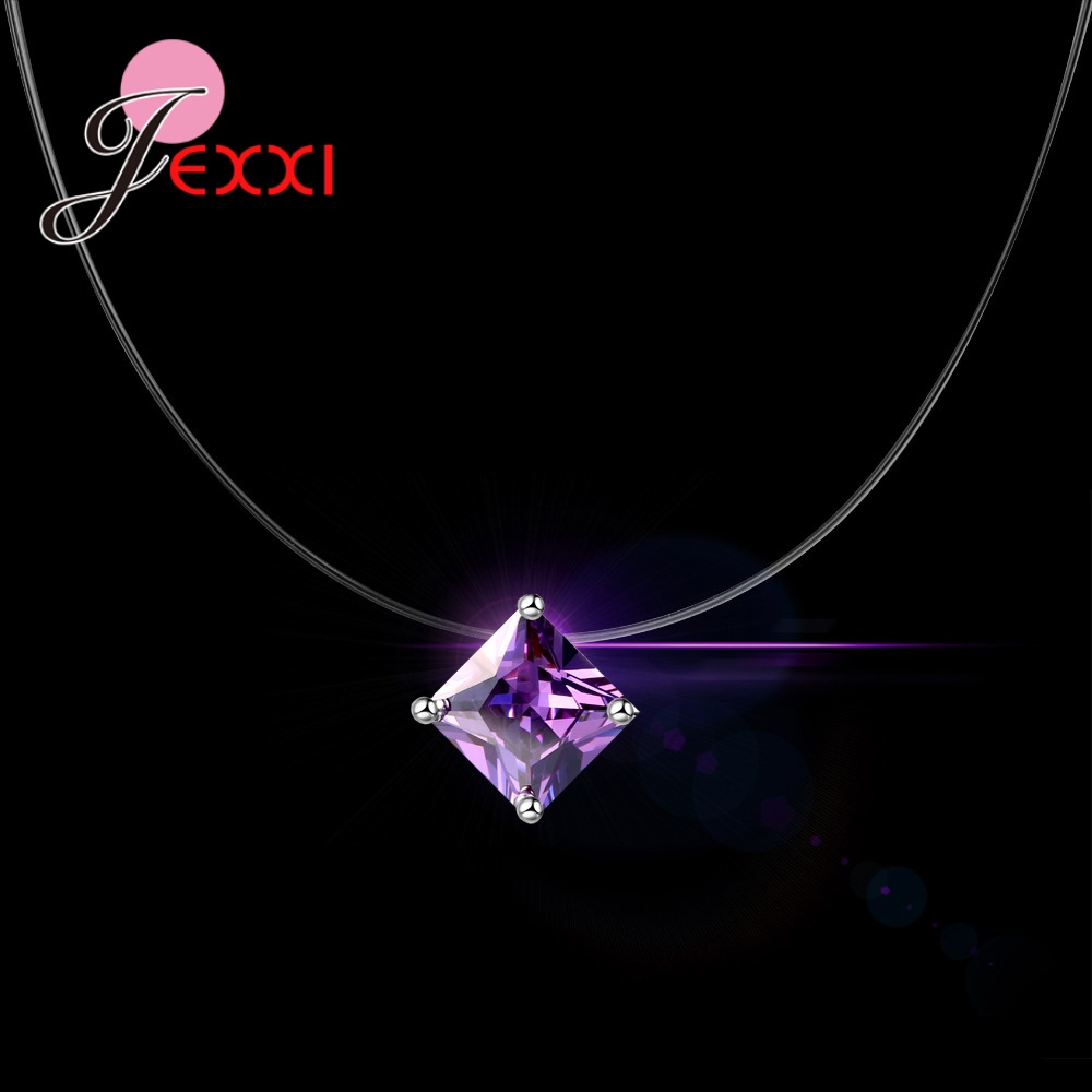 JEMMIN Popular Pendant Necklace S90 Silver Color Interface Transparent Rope 8 Colors Clear Cubic Zirconia Women Best GiftJEMMIN Popular Pendant Necklace S90 Silver Color Interface Transparent Rope 8 Colors Clear Cubic Zirconia Women Best Gift