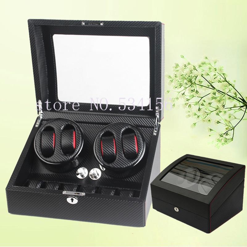 Trasporto libero NUOVO 4 + 6 di Carbonio Nero Automatico PU watch winder scatola di immagazzinaggio regalo dei monili display orologi motore avvolgitore contenitore di vigilanza
