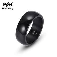 WelMag Magnetic Hematite Health Men Ring Black High Polished Stainless Steel Simple Elegant Bio Energy Female