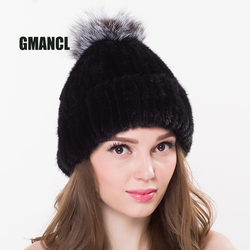 GMANCL Real Mink Fur Real Fox Ball Cap For Women Girl's Hat Pom Poms Winter Knitted Beanies Cap Thick Female Genuine fur Beanies