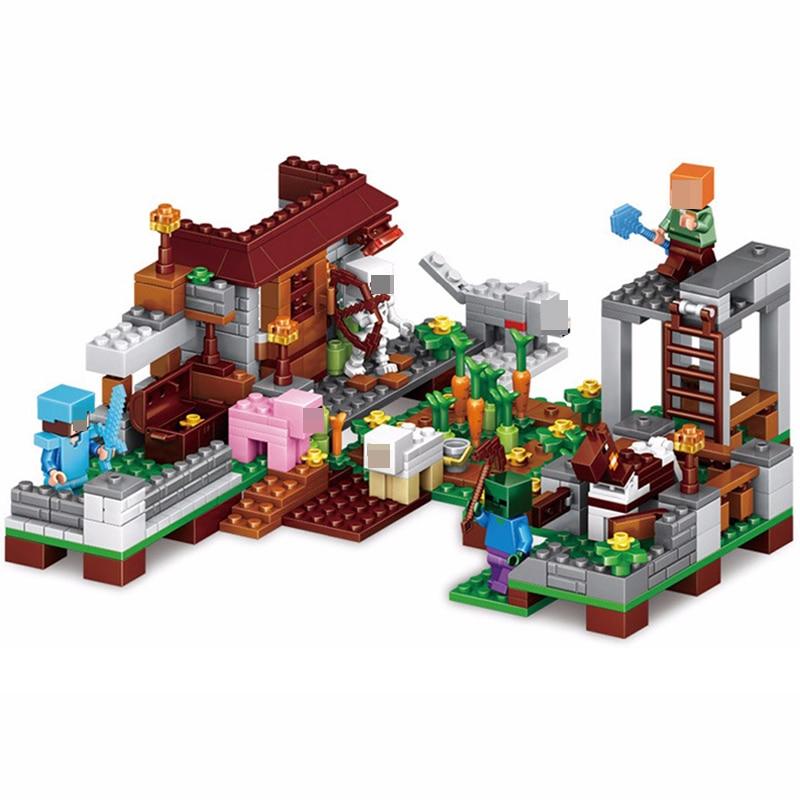 390pcs Minecraft Toy Action Figures Steve Farm Village 4 In 1 Minecraft Building Blocks Brick Set My World Toys For Children #E390pcs Minecraft Toy Action Figures Steve Farm Village 4 In 1 Minecraft Building Blocks Brick Set My World Toys For Children #E