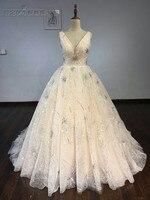 Erstaunliche v-ausschnitt Hochzeitskleid 2018 Backless Pailletten Perlen Funkelnde Brautkleid Benutzerdefinierte Größe Ballkleid