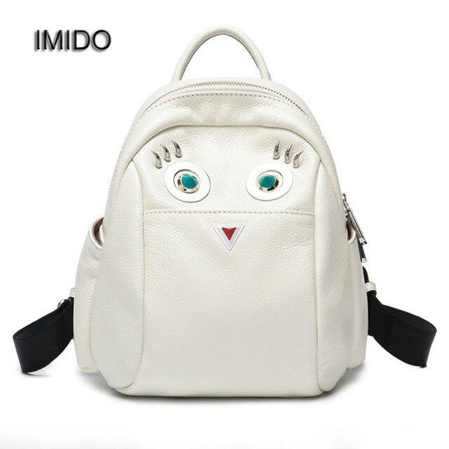 Imido 100 Genuine Leather Women Backpack Brief Knapsack Bag For Las Pocket Schoolbag Cowhide