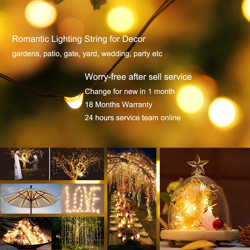 lowest price Solar String Light 10m 20m 100LED Silver wire Fairy Tale Indoor Outdoor Waterproof led Light Garden Family Ball Party Christmas