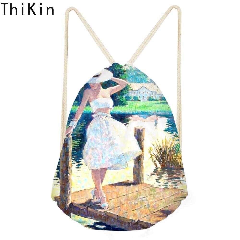 THIKIN Drawstring Bag Monet For Women Small Kids Girls Backpack Van Gogh Oil Painted  Fashion Summer Travel Shoulder Bag Mochila