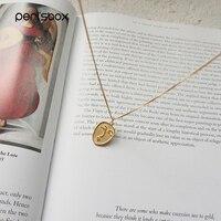 Peri'sBox 925 пробы Щепка уход за кожей лица ожерелье-чокер с медальоном минималистский Монета диск колье цепочки и ожерелья s Chic слоистых цепи