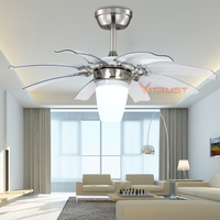 Modern Folding Fan Lights Fashion Invisible Mute Ceiling Fan Lamp 42 Inch ABS Blades Ceiling Fan Light