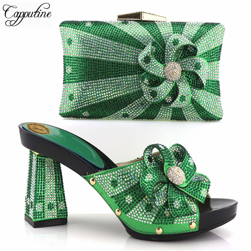 Capputine High Quality African Style Woman Shoes And Bags Set Hot Sale Italian Green Color Shoes With Matching Bags For Party 2016 italian shoes with matching bags for party high quality african shoes and bags set for wedding