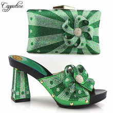 Capputine High Quality African Style Woman Shoes And Bags Set Hot Sale Italian Green Color Shoes With Matching Bags For Party