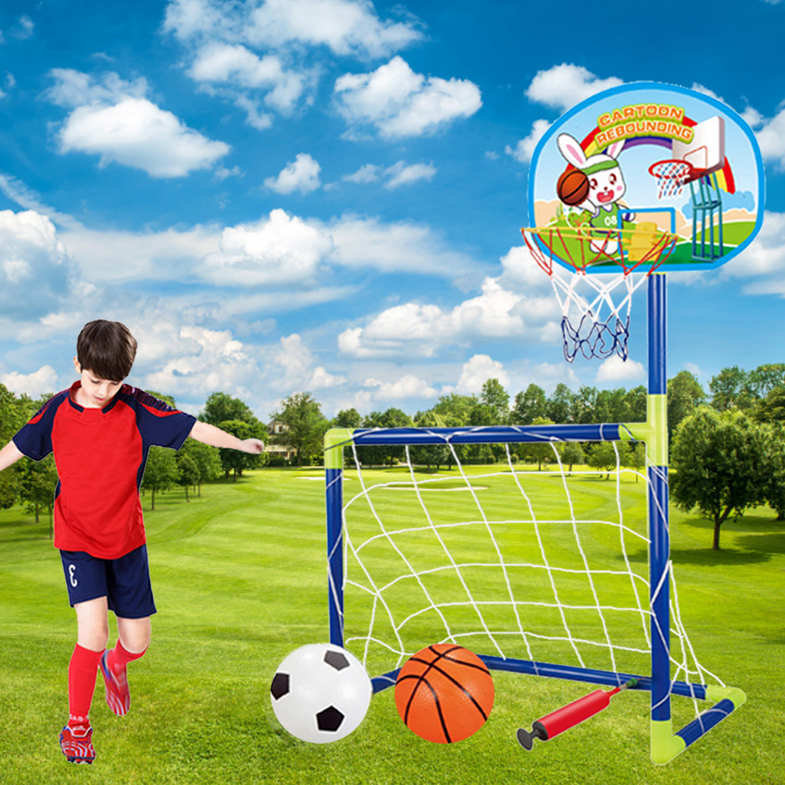 Surwish 2018 Summer Sports Portable Collapsible Football Kit 2-In-1 Kids Basketball Backboard Soccer Goal Set Training Toy
