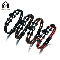 Double PU Leather Male Bracelet Vintage Black Skull Bangles With Rhinestone Stainless Steel Clasp Handmade Customized